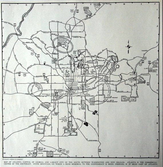 Vintage Map of Atlanta, Georgia. Published in 1937 - Vintage City Map - Old City Map