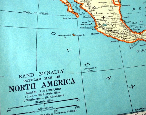1937 Vintage Map of North America - North America Vintage Map - Vintage North America Map