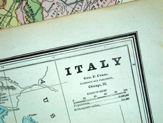 1888 Antique Map of Italy