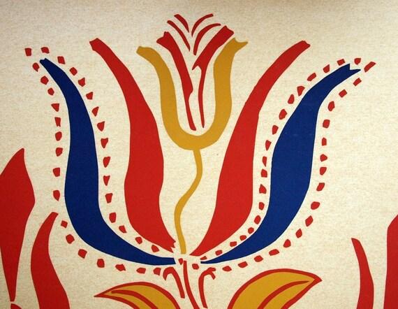 1940 Silkscreened Folk Art Poster. Tulips