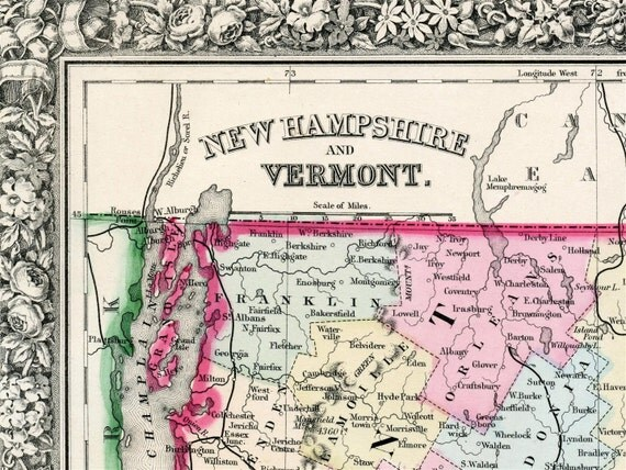 1864 Antique Map of New Hampshire and Vermont - Historical Map - Mitchell Map - Handcolored map - New Hampshire Antique Map