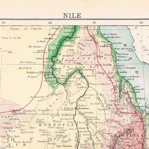 1884 Antique Map of the Nile, Egypt . In Pastel Colours.