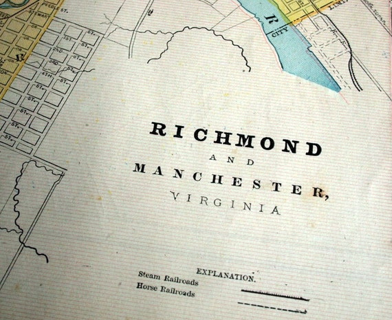 1899 City Map of Richmond and Manchester, Virginia