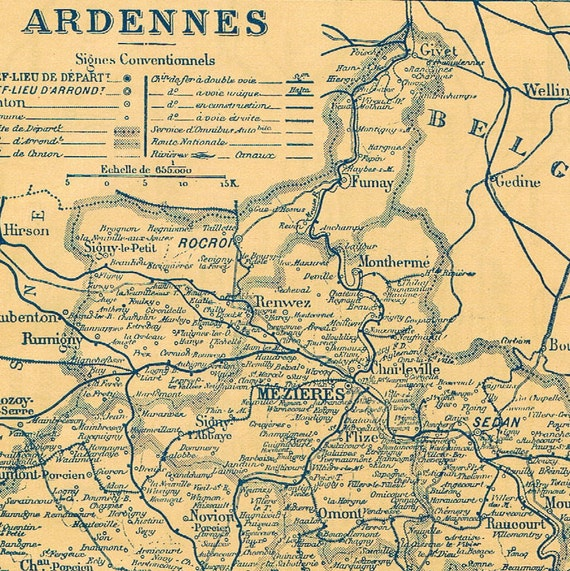 1925 Vintage Map of Ardennes and Ariège, France - Petite - French map - Back to Back map