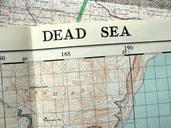 1954 Large Vintage Map of the Dead Sea