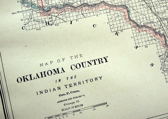 1888 Antique Map of Oklahoma Country in the Indian Territory