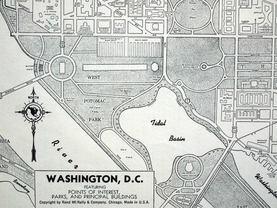 Vintage Map Of Washington Dc Retro Lettering 1942