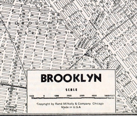 Vintage Map of Brooklyn, New York. 1942 Black and White City Map