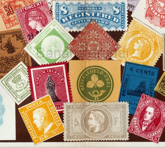 1895 Brilliantly Coloured Chromolithograph of 19th-Century Postage Stamps