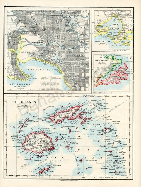 1914 Antique Map of Melbourne and Port Phillip, Australia. With the Fiji Islands, and Otago Harbour, New Zealand