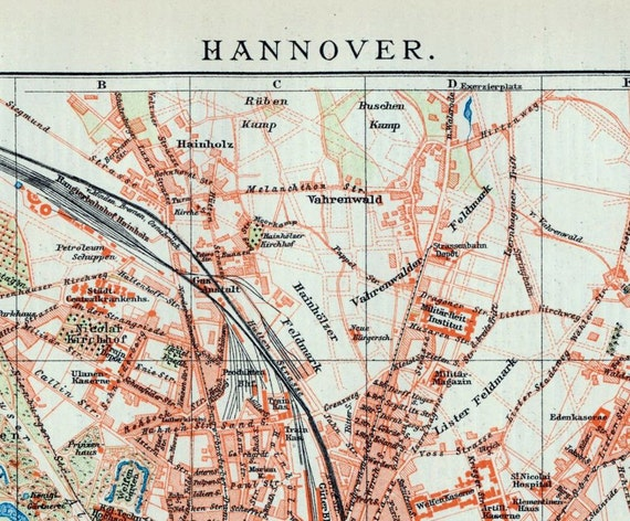 1902 Antique City Map of Hanover, Germany
