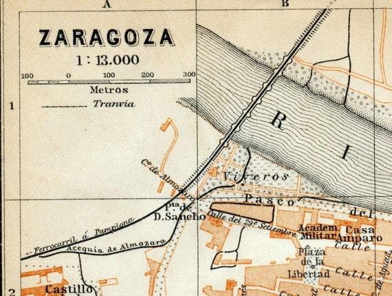 1901 Antique Map of Zaragoza (Saragossa), Spain