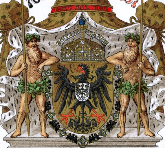 1894 Chromolithograph of the Kaiser's Crown and Coat of Arms