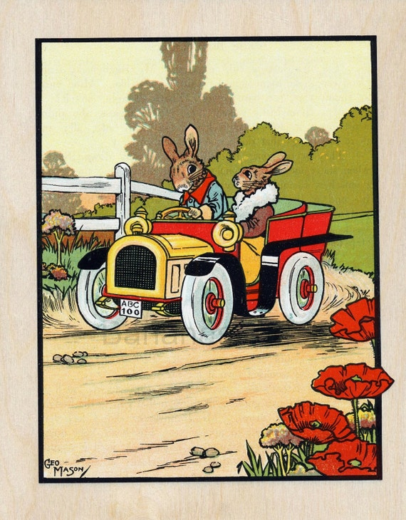 Ca. 1915 Antique Endearing Children's Illustration of Driving Bunnies or Rabbits, on Wood Panel