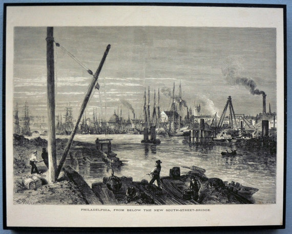 1887 Antique Engraving of Philadelphia, from Below the New South Street Bridge, on Wood Panel