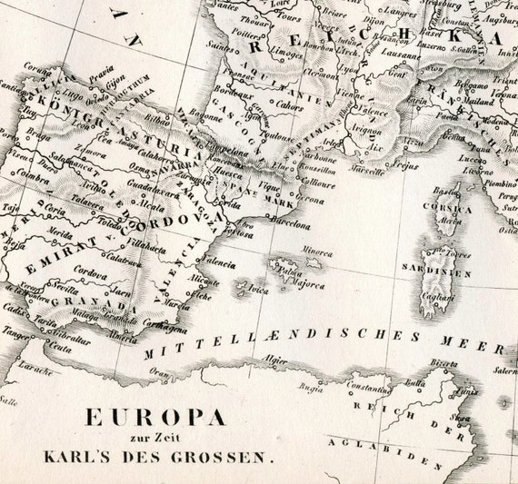 1851 German Vintage Map of Europe in the Time of Charlemagne - Historical Map - Black and White