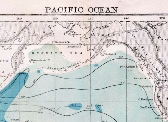 1890s Antique Map of the Pacific Ocean