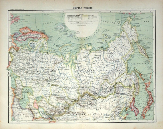 Large Antique Map of the Russian Empire - 1893 Vintage Map - Old Russian Empire Map - - Home Decor - Office Decor