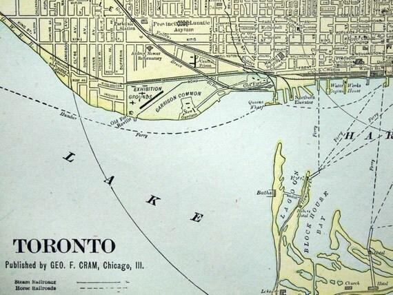 1901 Antique Street Map of Toronto, Ontario