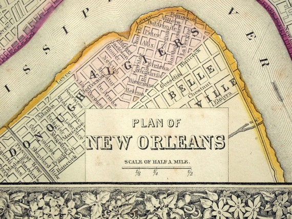 1866 Gorgeous Antique Hand-Coloured Mitchell Street Map of New Orleans, Louisiana