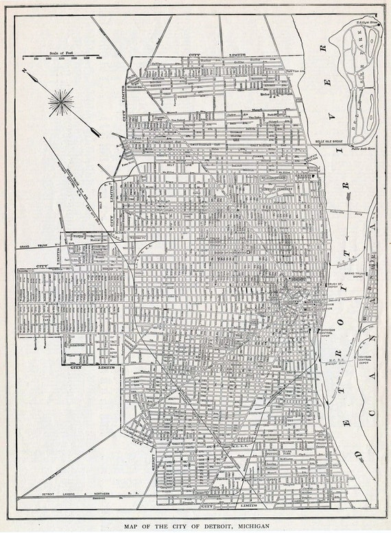 1922 Vintage Map Of Detroit Michigan Old Street Map Of