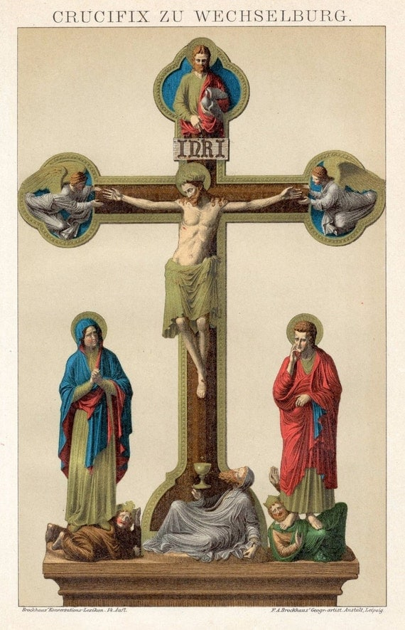 1894 Antique German Chromolithograph of the Crucifix in Wechselburg