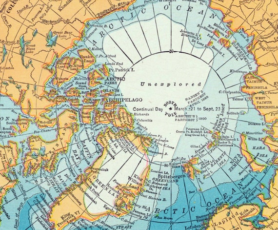 1906 Antique Map of North and South Polar Regions
