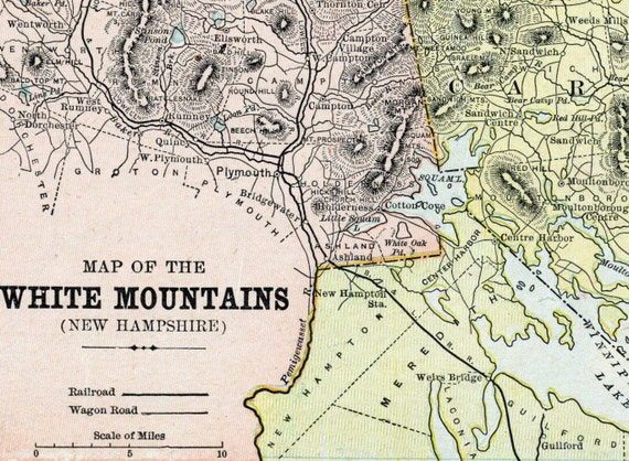 1901 Antique Map Of The White Mountains New Hampshire