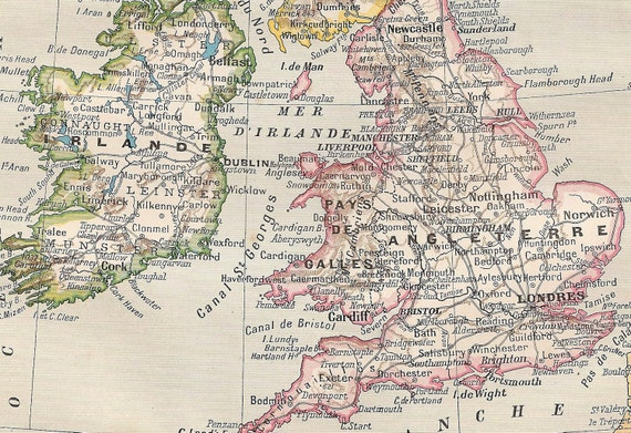1908-1914 Antique French Map of Great Britain and Ireland