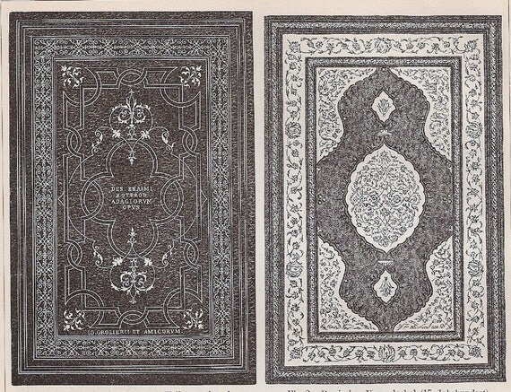 1895 German Back-to-Back Antique Engraving of Book Covers