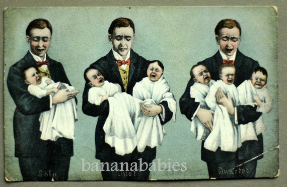 1906 Vintage Funny Father's Day Postcard. Solo Duet Quartet