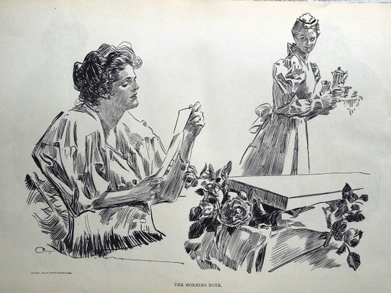 Gibson Girl - The Morning Note - Humorous 1907 Antique Charles Dana Gibson Print