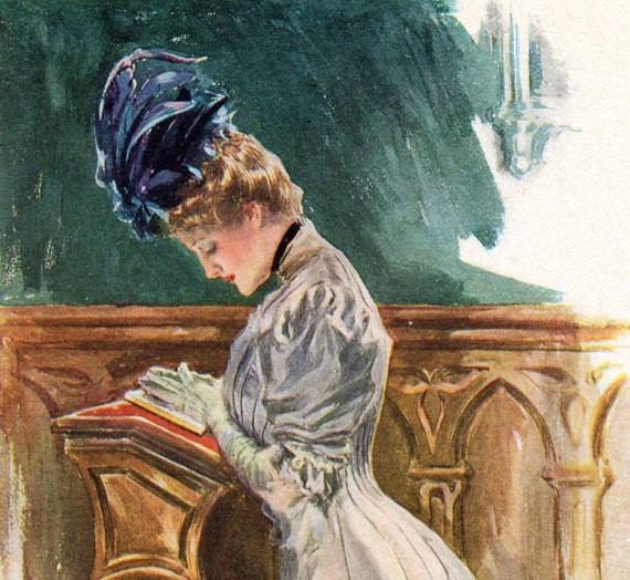 1907 Antique Harrison Fisher Illustration. With Modest Eyes Downcast. From A Dream of Fair Women