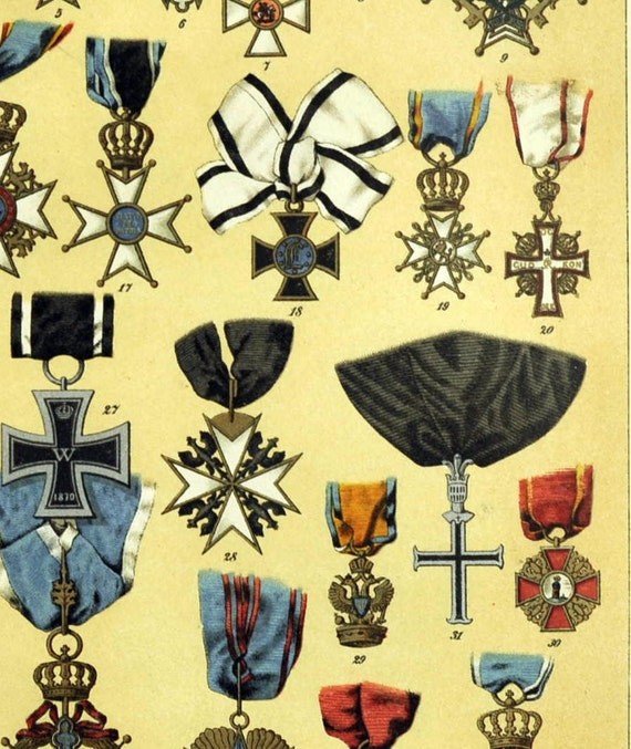 1895 Brilliantly Coloured Illuminated Chromolithograph of Important Medals and Decorations. Part 1