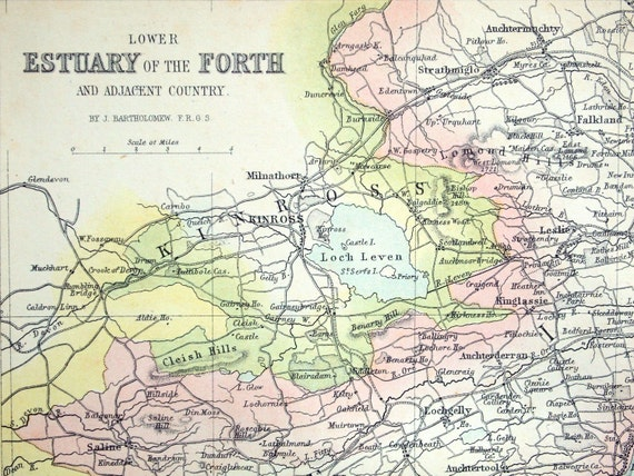 1868 Rare Hand-Coloured Antique Map of the Lower Estuary of the Forth