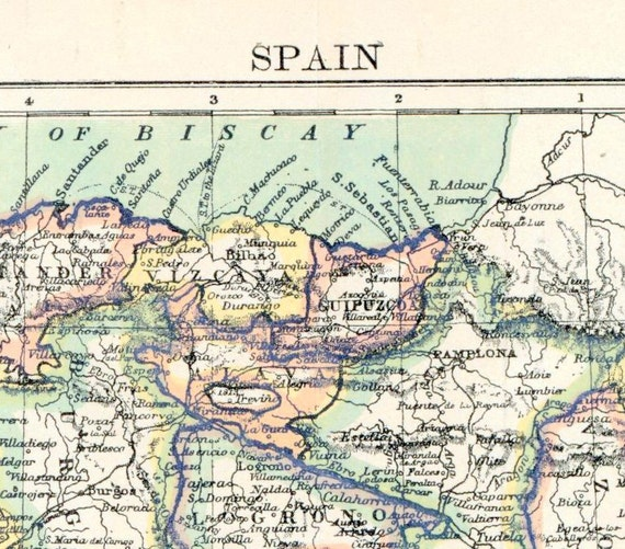 1890s Antique Map of Spain