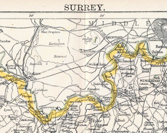 1890s Antique Map of Surrey, the UK