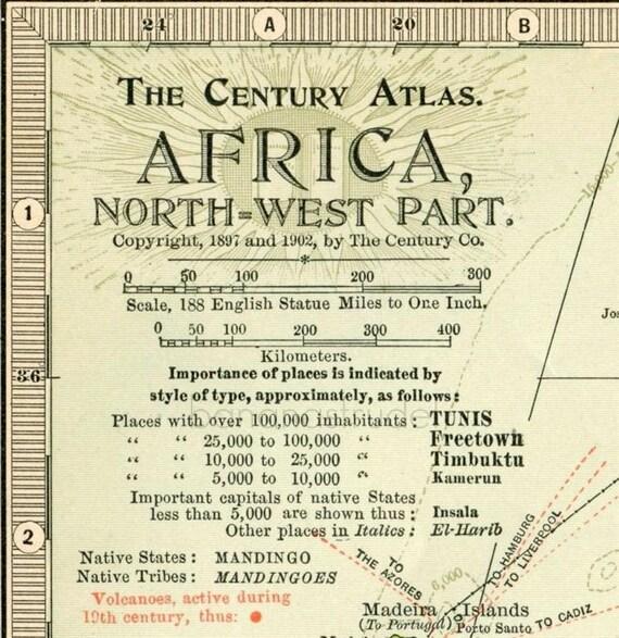 1902 Century Atlas Vintage Map of the Northwest Part of Africa - Antique Africa Map (Northwest)