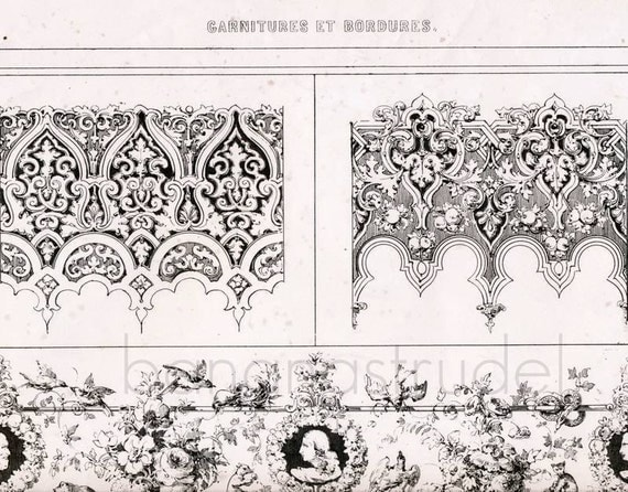 Antique Lithograph of Garnitures and Borders - By E. Julienne - 1800s Vintage Print