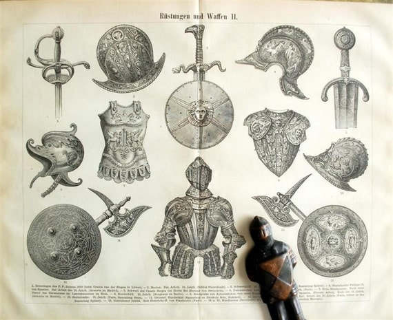 Antique Print of Armours and Weapons - 1895 German Print