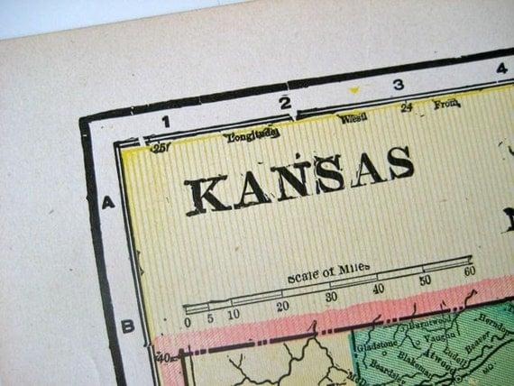 1901 Antique Map of Kansas
