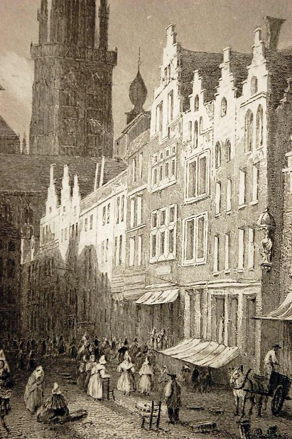 1887 Fine Antique Steel Engraving of the Egg Market in Antwerp, Belgium