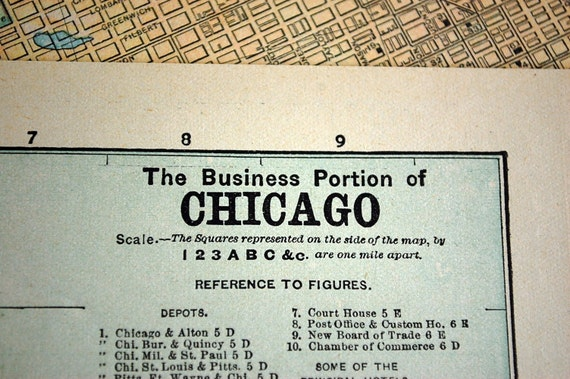 1889 Street Map of Chicago, Illinois