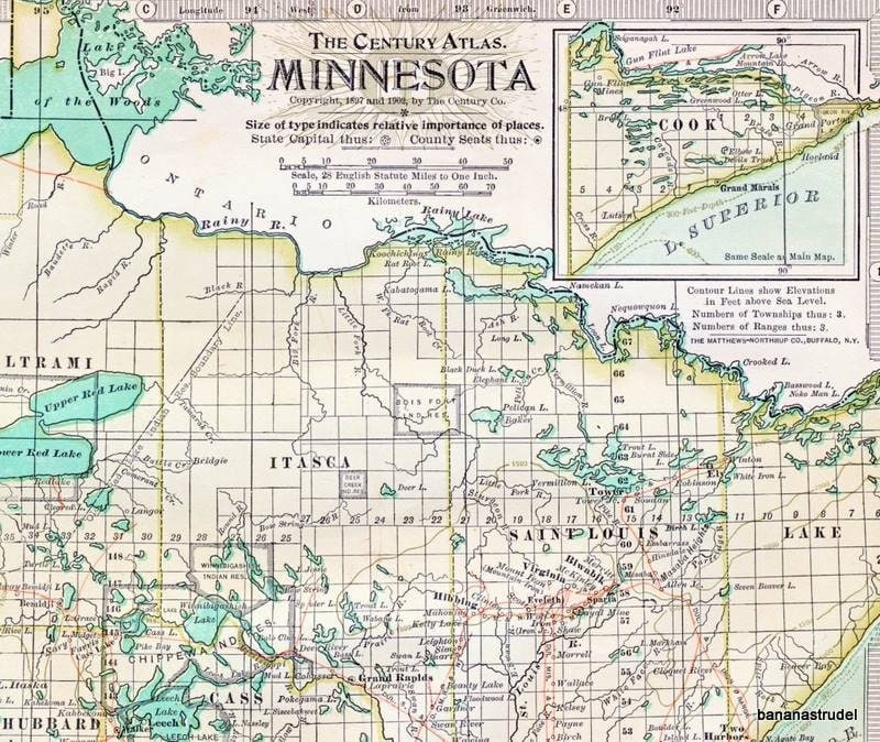 1902 Antique Map Of Minnesota Minnesota Antique Map