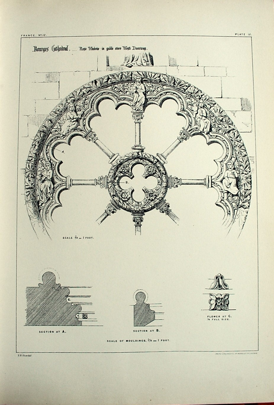 1872 large antique plate of gothic architectural details of for Architecture antique