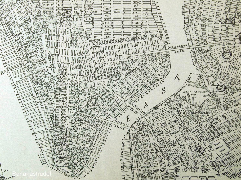 Vintage City Map Of Lower Manhattan New York City - Nyc map lower manhattan
