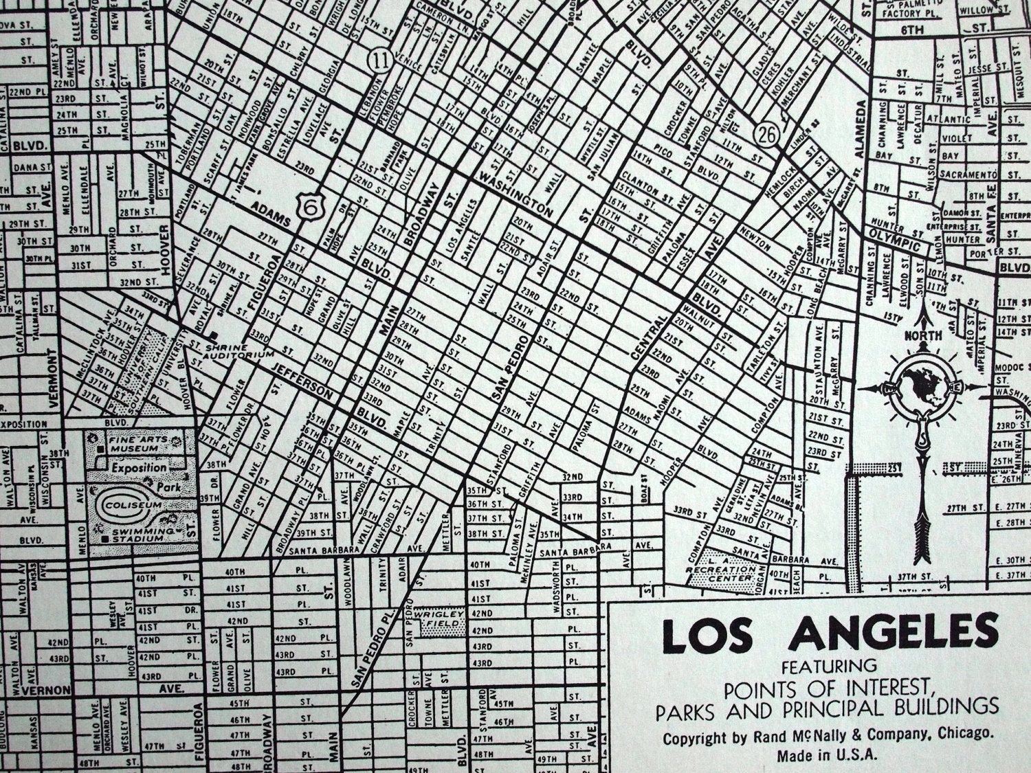 Vintage Map Of Los Angeles California Featuring Points - Los angeles map vintage