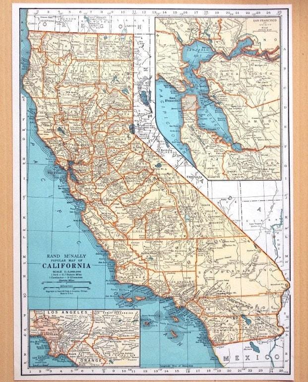 1937 Vintage Map Of California Vintage California Map