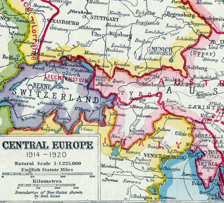 1922 Vintage Map of Central Europe 1914 1920 Old by bananastrudel