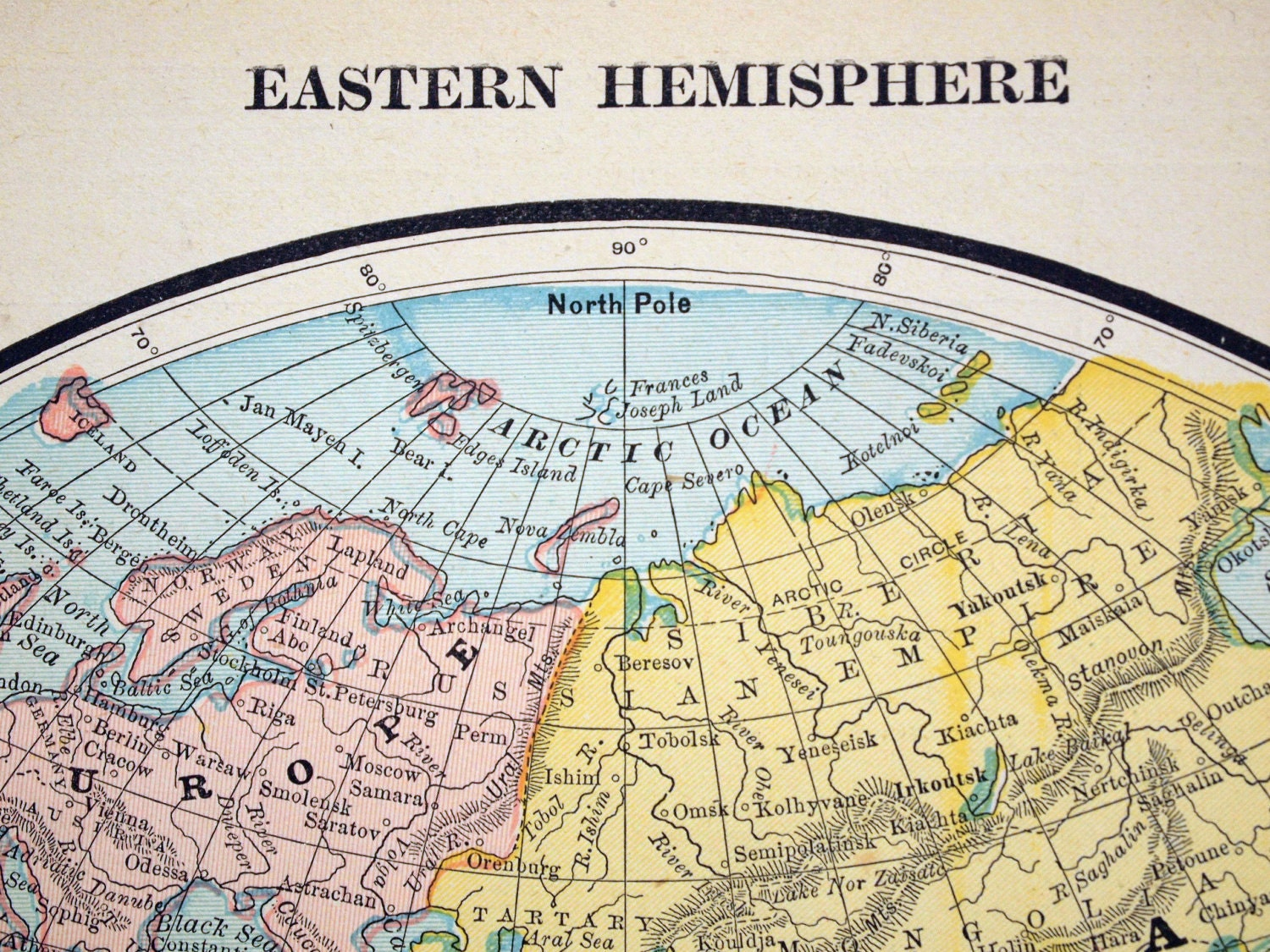 Eastern Hemisphere Map With Names 1888 Antique Ma...